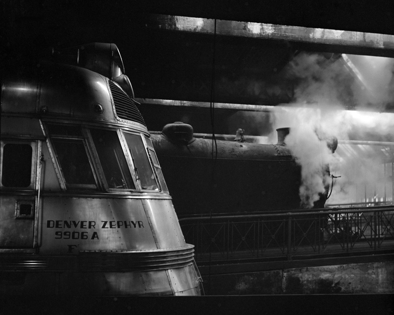 Steam and diesel engine at the Union Station, Chicago, Ill.